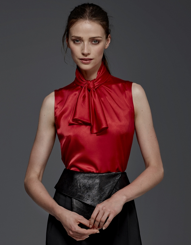 Maroon silk top with jabot collar