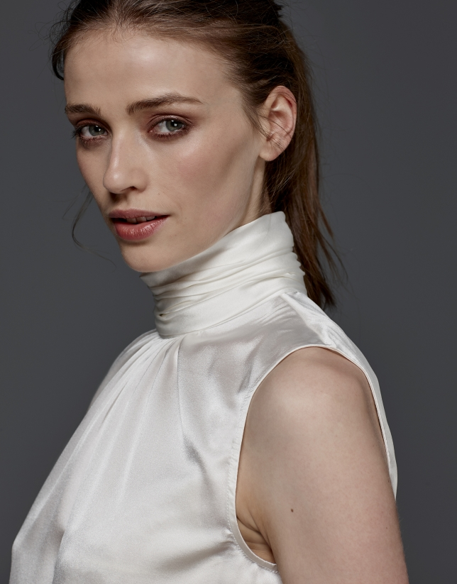 Ivory silk top with high draped collar