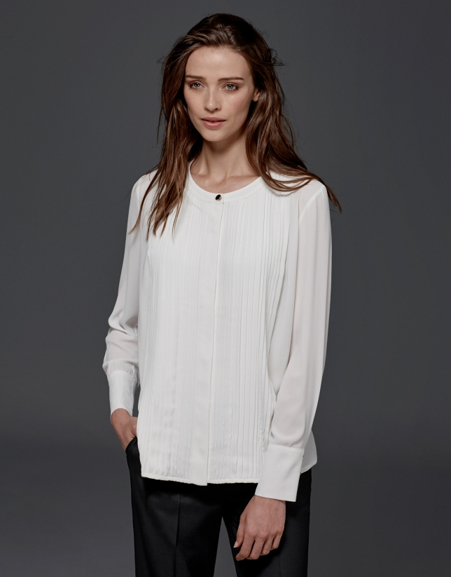 Ivory blouse with tucks
