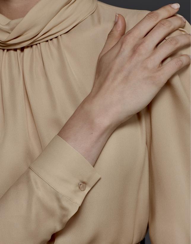 Beige silk blouse