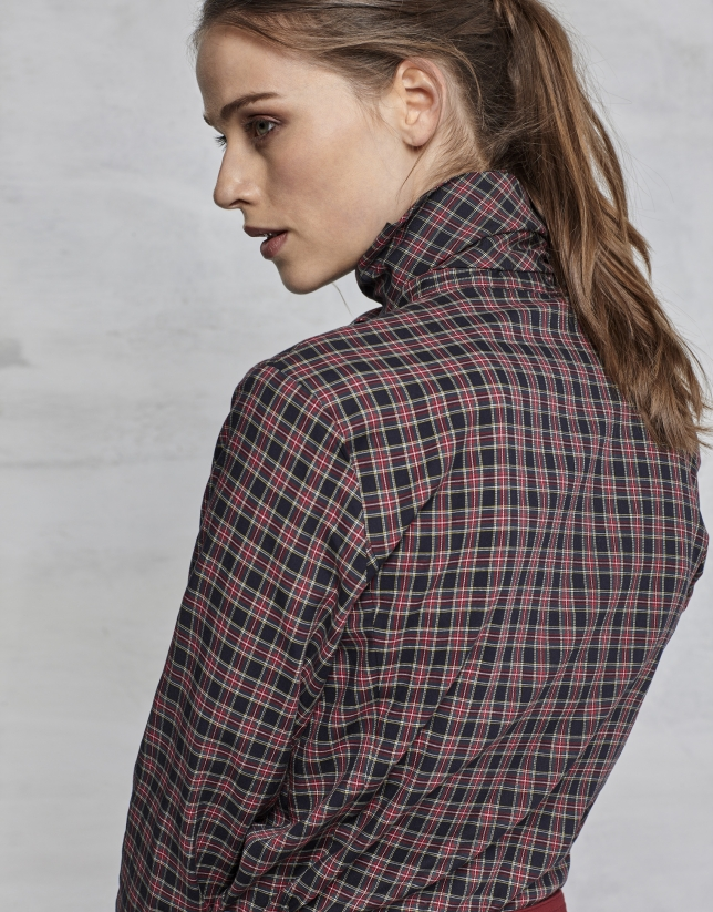 Plaid shirt with bow