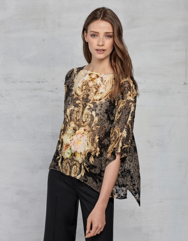Copper and gold print devoré loose blouse with bat sleeves