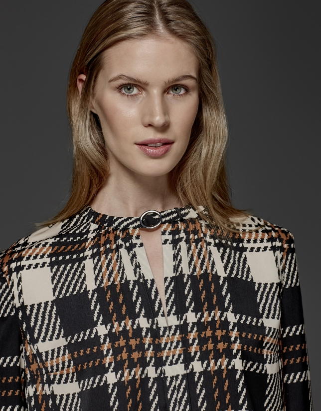 Checked print satin blouse