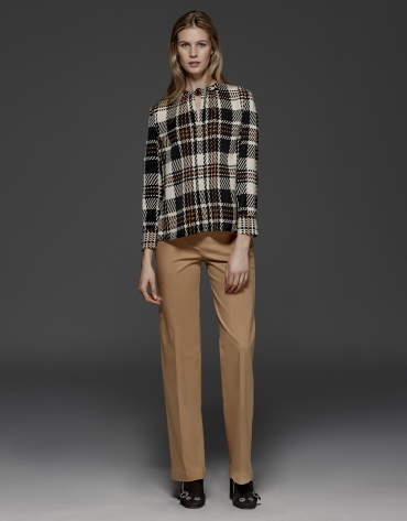 Checked print satin blouse