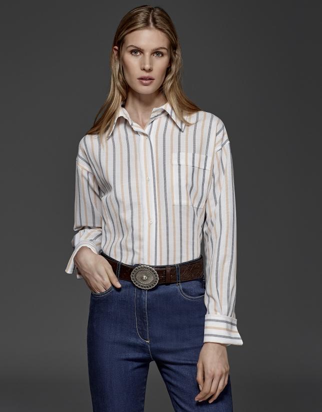 Two-tone orange pastel striped shirt