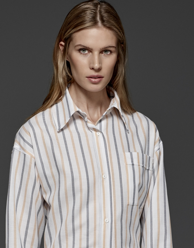 Two-tone orange pastel striped shirt