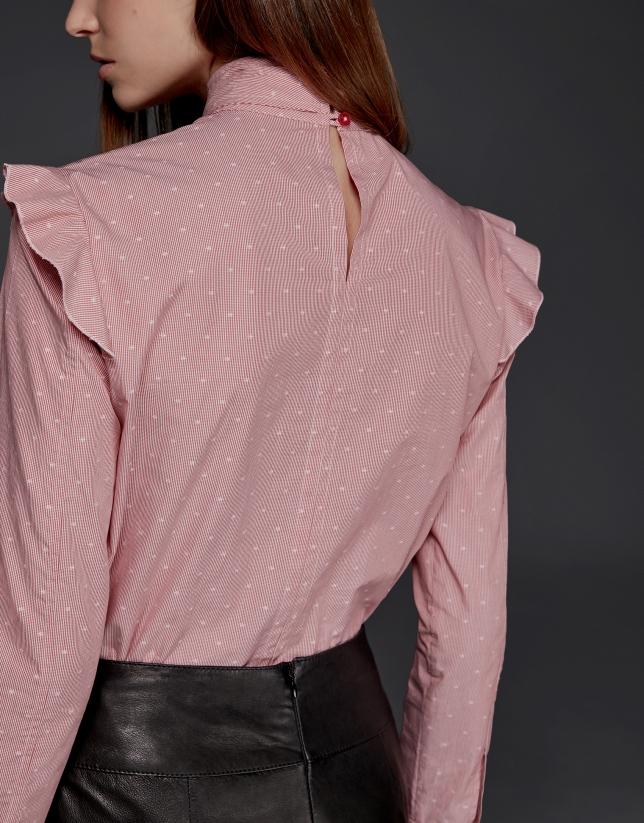 Coral fil coupé shirt with shoulder flounces