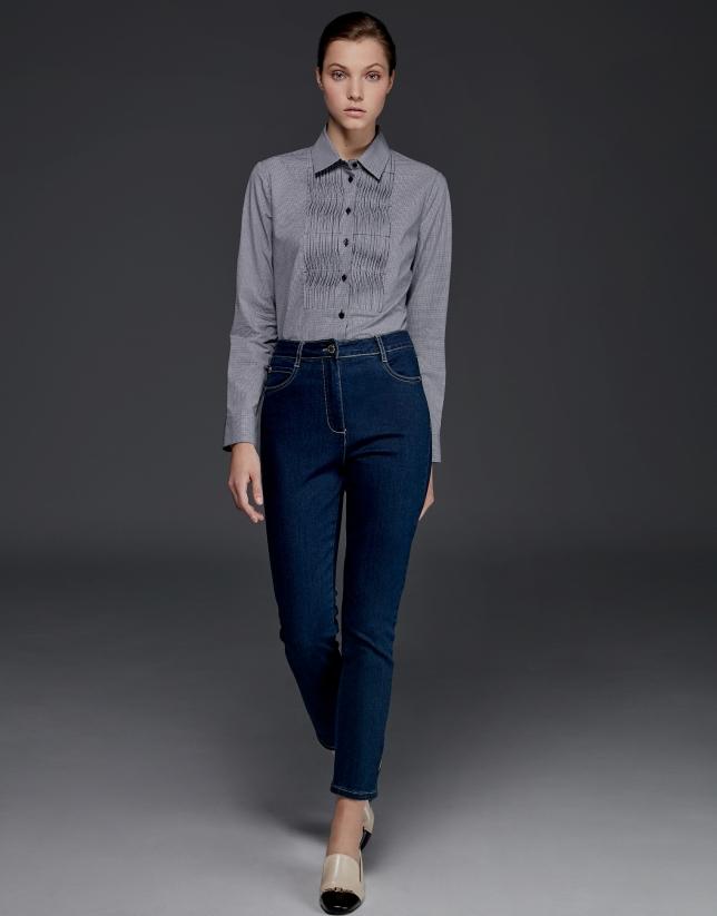 Chemise à coulisses à carreaux en Vichy bleu