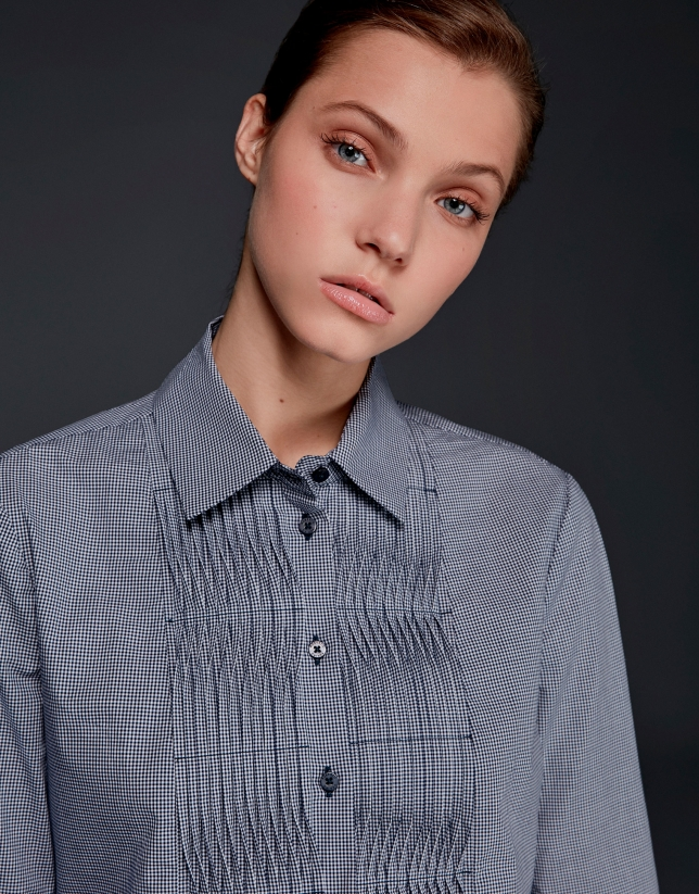 Blue Vichy checked shirt with tucks