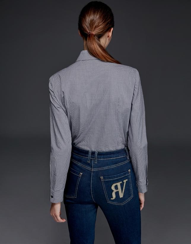 Camisa jaretas cuadro vichy azul
