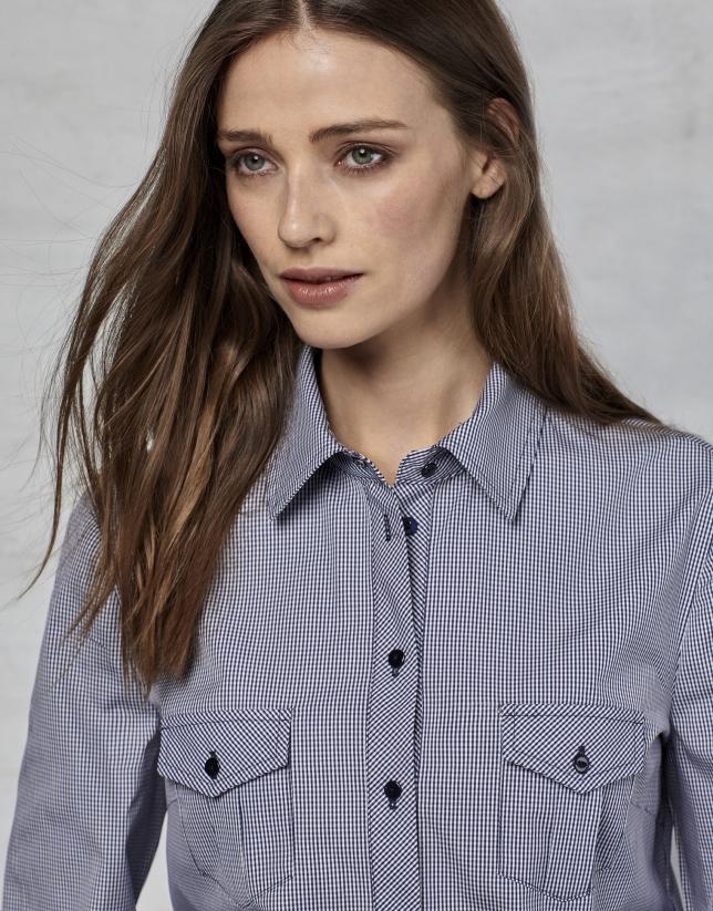 Camisa cuadro vichy azul marino