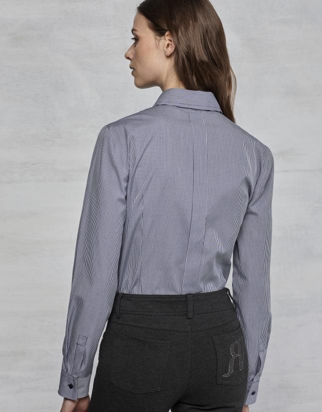 Chemise à carreaux Vichy bleu marine