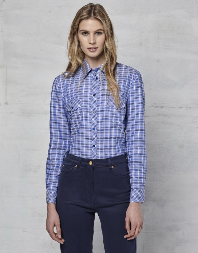 Chemise à carreaux bleu indigo