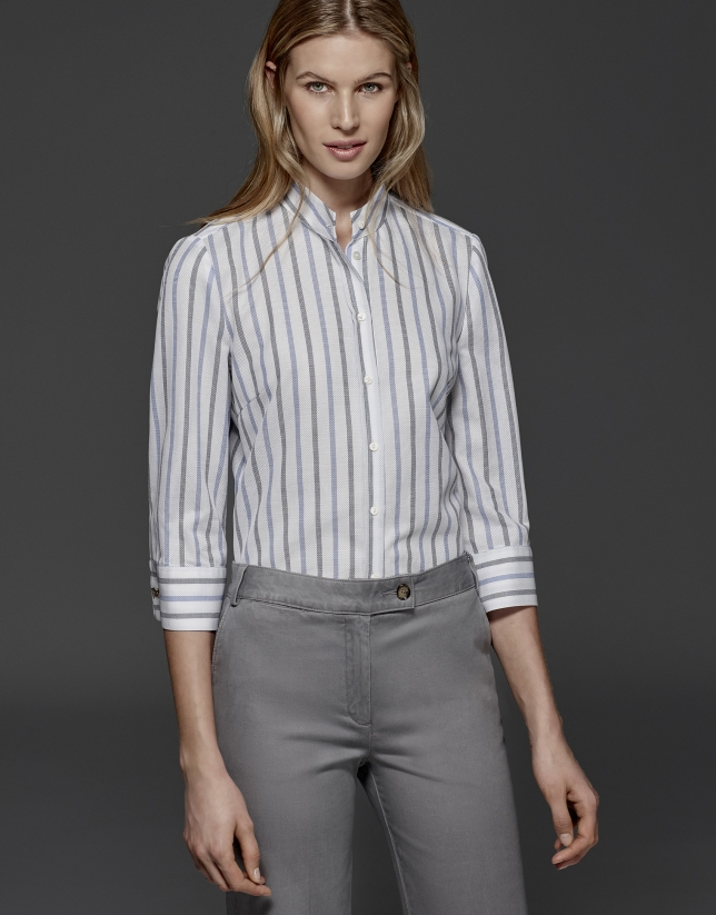Gray and blue striped blouse with Mao collar