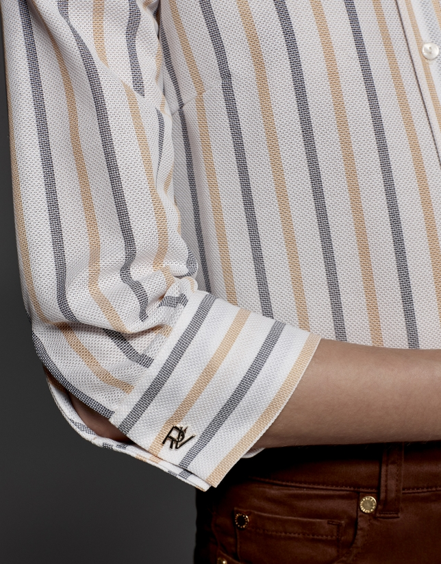Gray and orange striped blouse with Mao collar