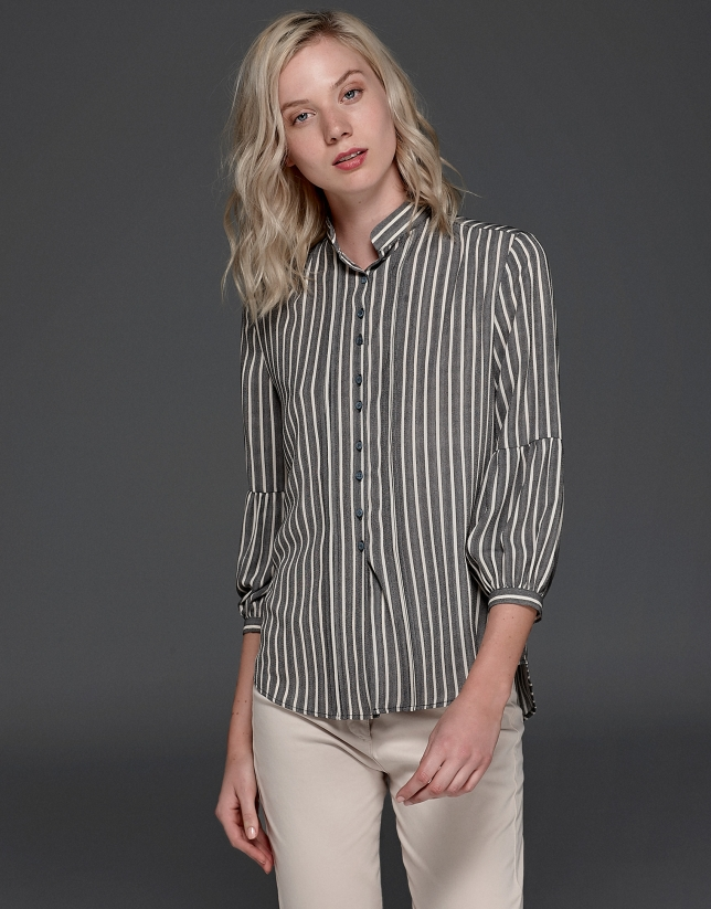 Gray striped painter's blouse