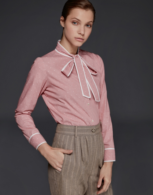 Coral Vichy shirt with bow collar