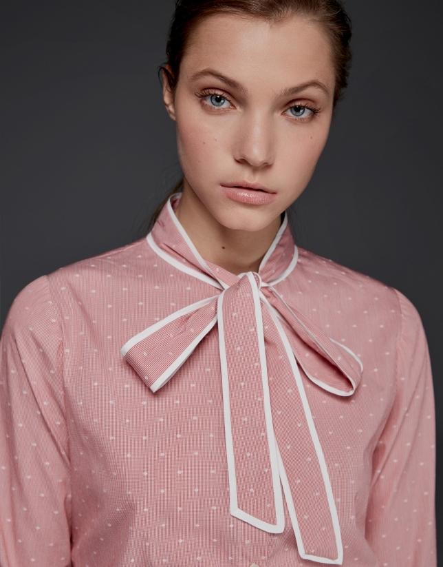 Camisa lazo cuello vichy coral