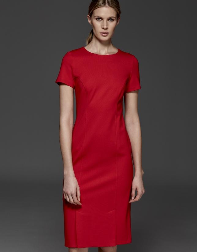 Robe à manches courtes rouge