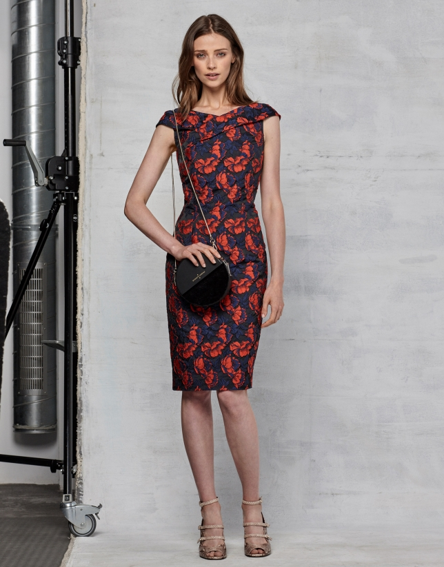 Floral jacquard cocktail dress