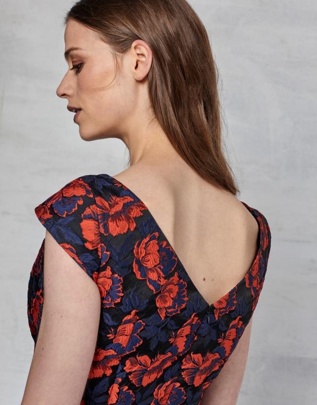 Vestido cóctel jacquard flores