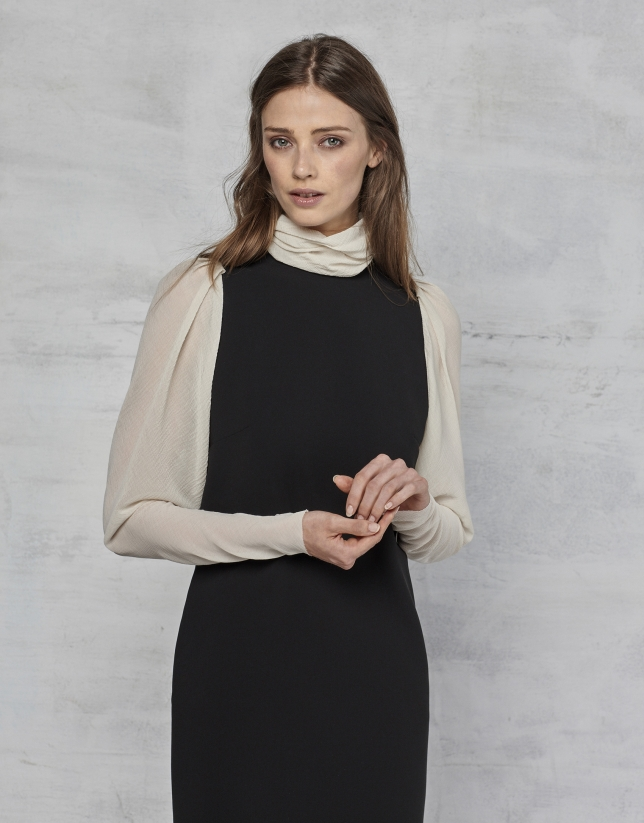 Vestido crepe negro manga larga