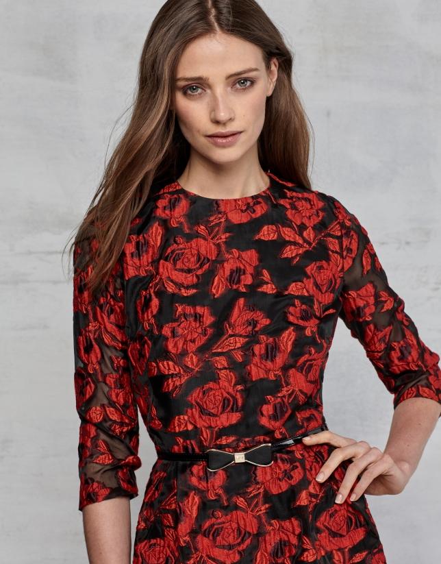 Vestido largo jacquard floral granate