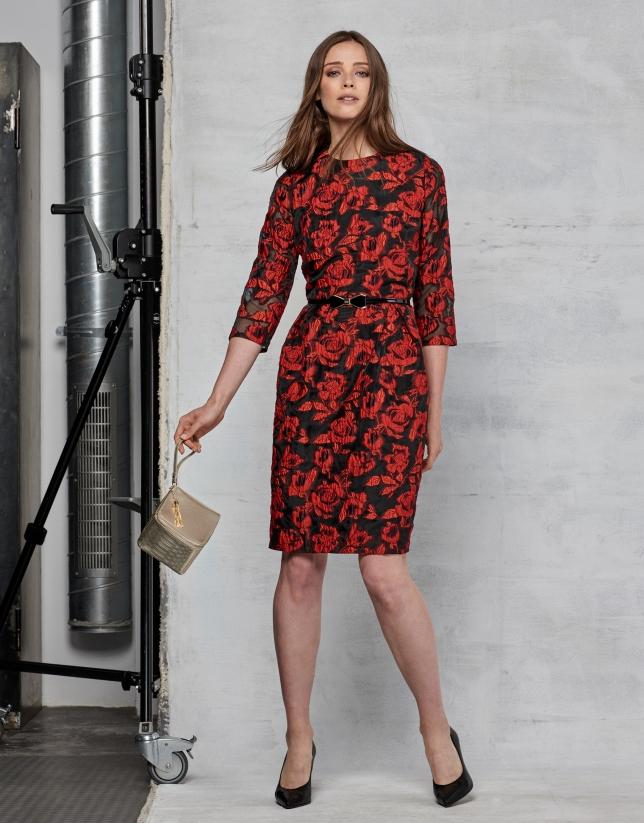 Maroon floral jacquard long dress