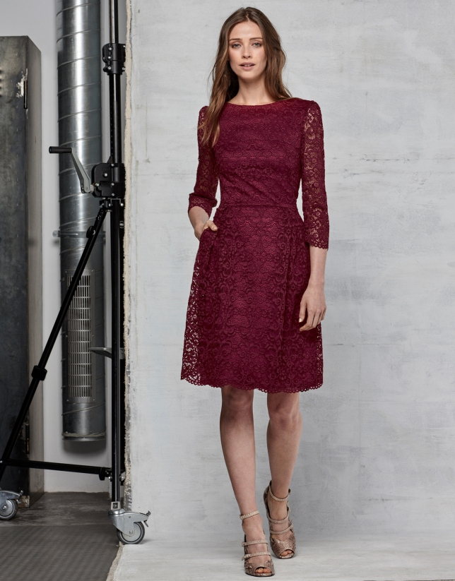 Maroon lace party dress