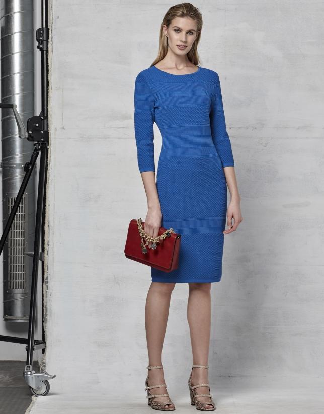 Sapphire blue knit dress