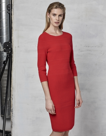 Dark red knit dress