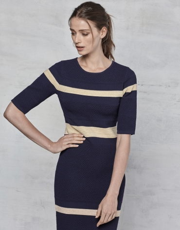 Navy blue and gold striped knit dress
