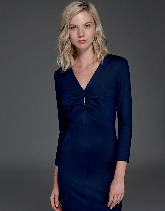 Navy blue stretch knit dress