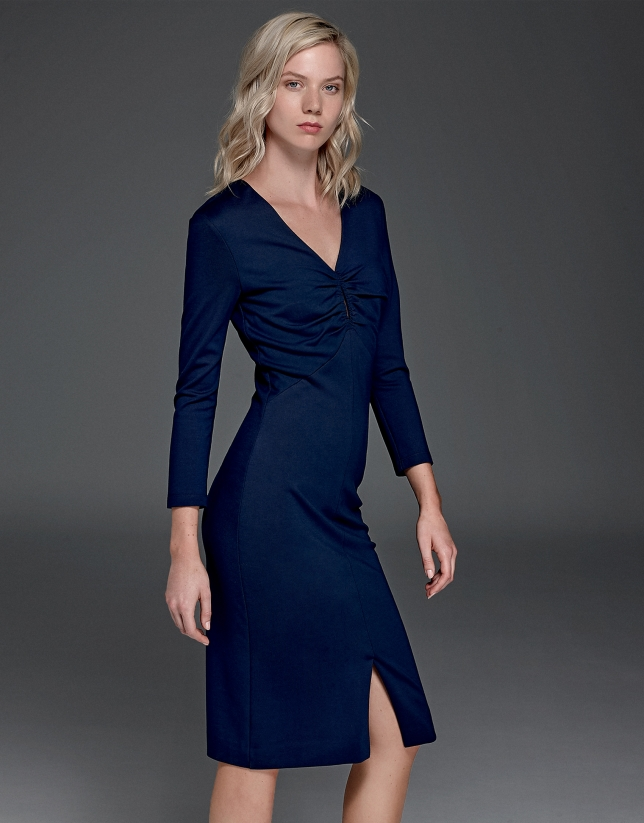 Robe stretch bleu marine