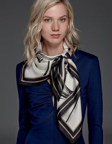 Navy blue stretch knit dress