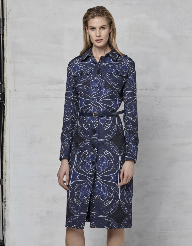 Navy blue jacquard shirtwaist dress