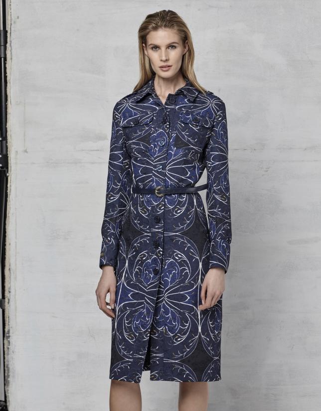 Robe chemisier jacquard bleu marine