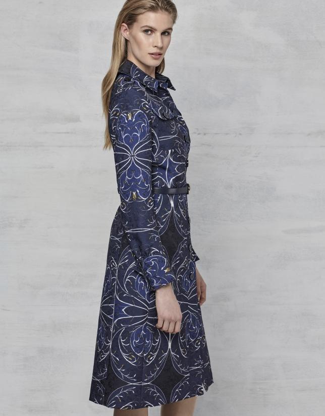 Vestido camisero jacquard azul marino