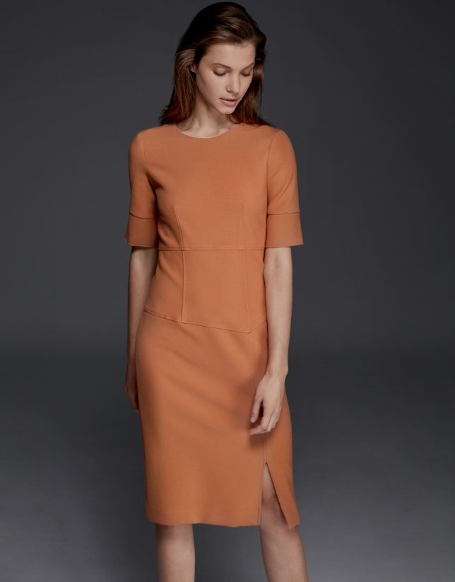 Asymmetric knit dress with slit