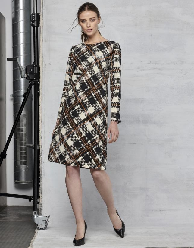 Vestido recto cuadro escocés