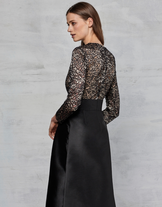 Vestido Largo Fiesta Negro Mujer Oi2017 Roberto Verino
