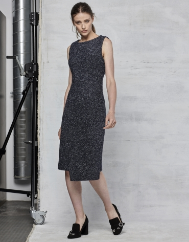 Blue speckled asymmetric dress