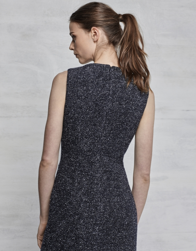 Vestido asimétrico jaspeado azul