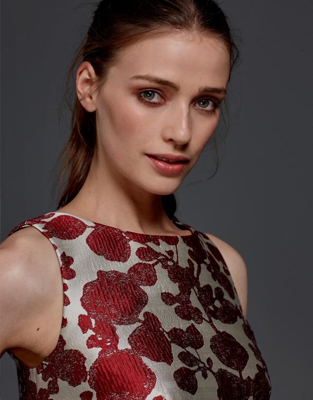 Vestido jacquard floral granate