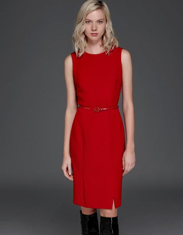 Vestido flocado rojo