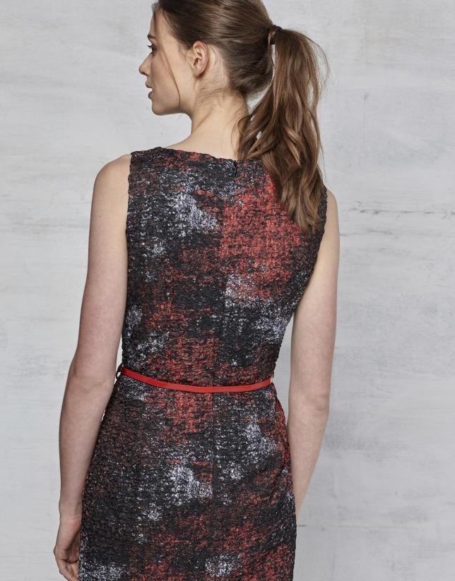 Maroon print dress