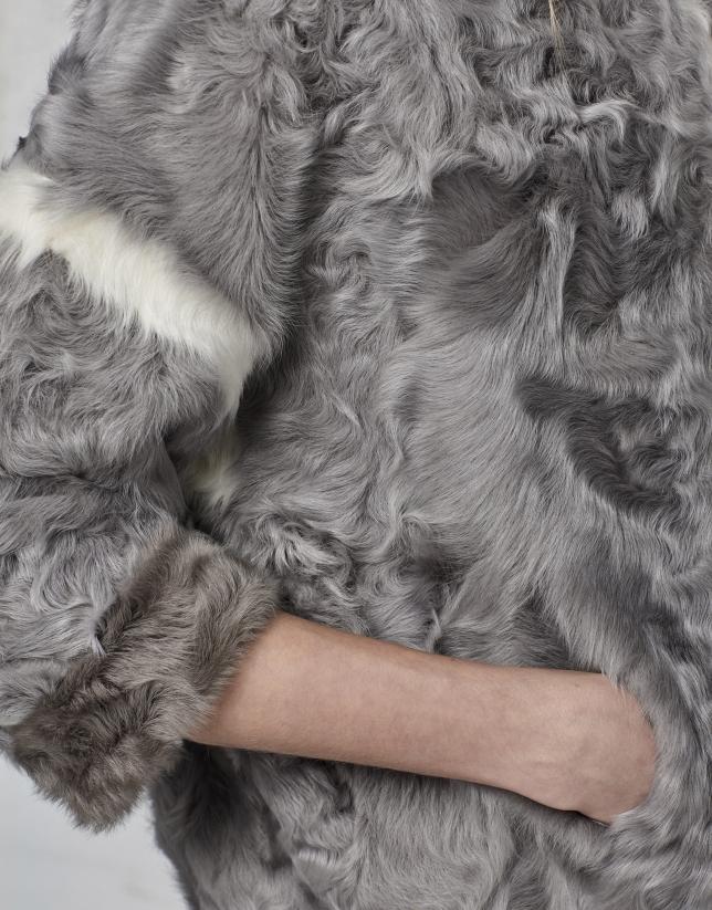 Chaquetón piel de cordero gris