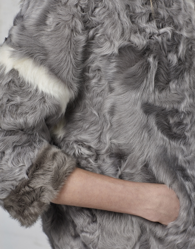 Trois-quarts en cuir d'agneau gris