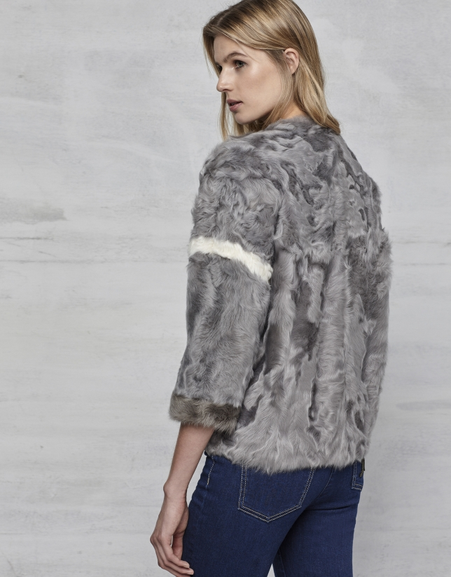 Gray lambskin three-quarter jacket