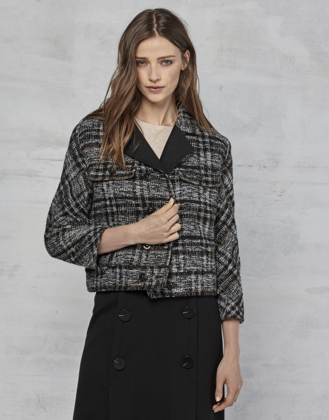 Checked fabric windbreaker